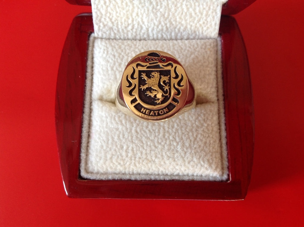 HEATON GOLD ENGRAVED RING