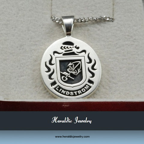 Lindstrom family crest necklace