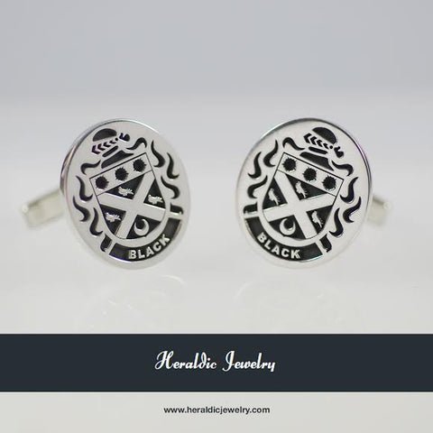 Black family crest cufflinks