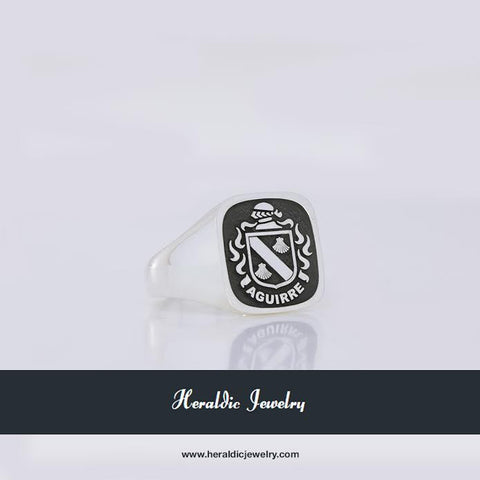 Aguirre silver family crest ring
