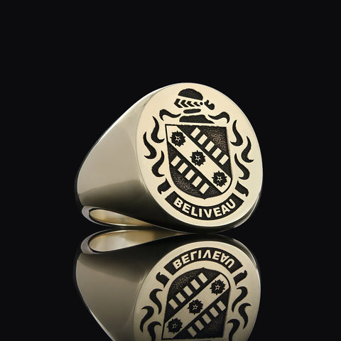 Beliveau family crest ring