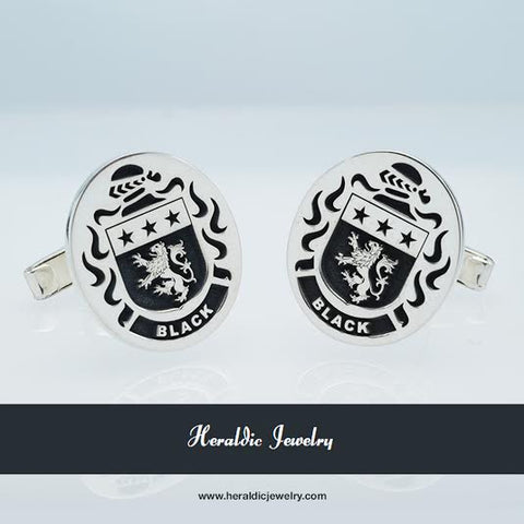 "Family Crest Cufflinks "" Black """