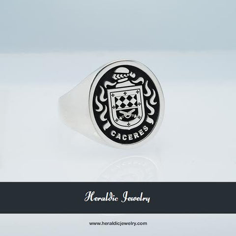 Caceres family crest ring