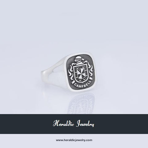 Campbell silver family crest ring