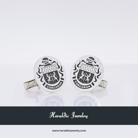 Corcoran family crest cufflinks silver
