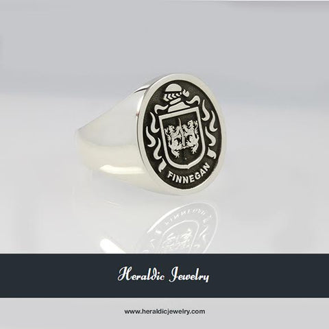 Finnigan silver family crest ring