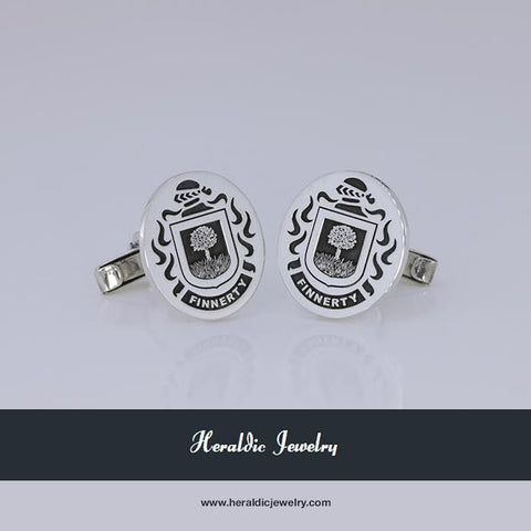 Finnerty family crest cufflinks