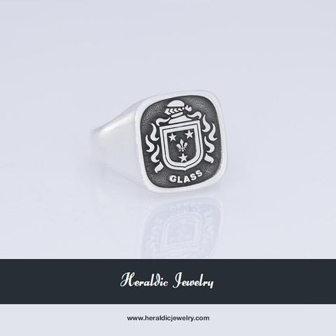 Glass family crest ring