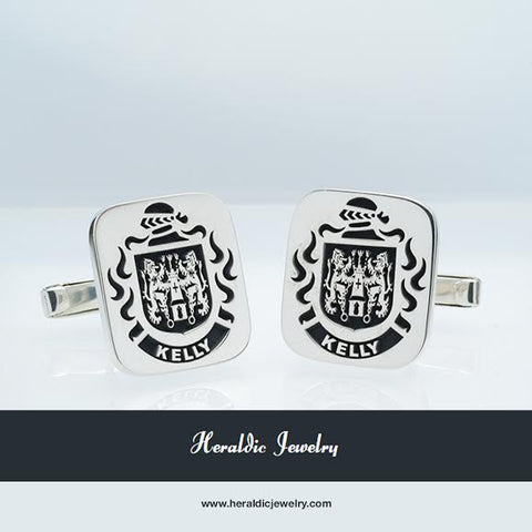 Kelly family crest cufflinks