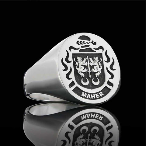Maher silver crest ring