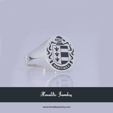 Martinez silver family crest ring