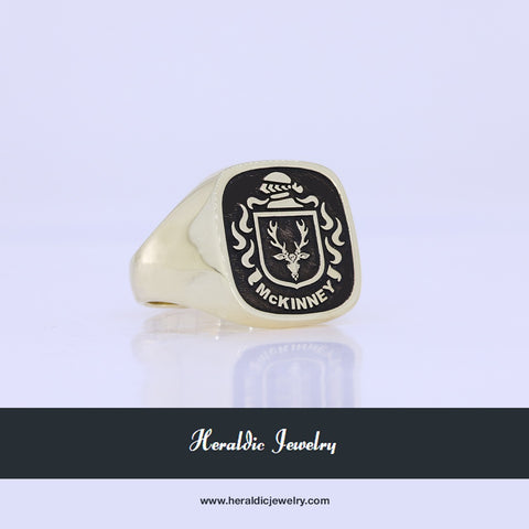 McKinney gold family crest ring