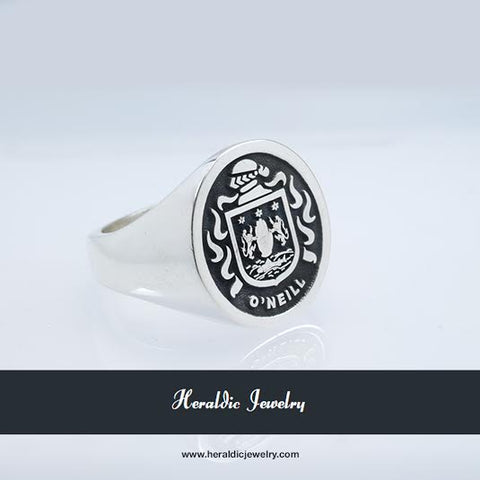 O'Neill silver family crest ring