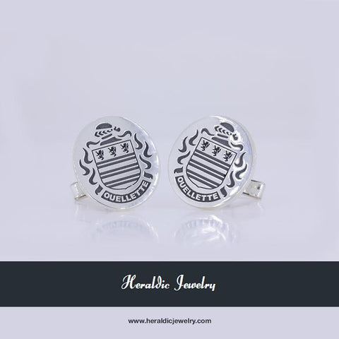 Ouellette family crest cufflinks
