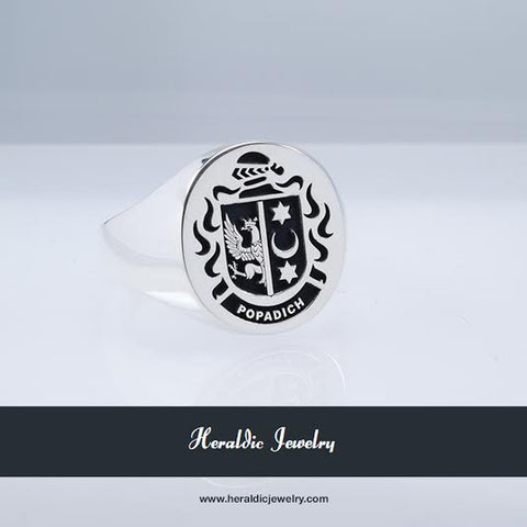 Popadich family crest ring