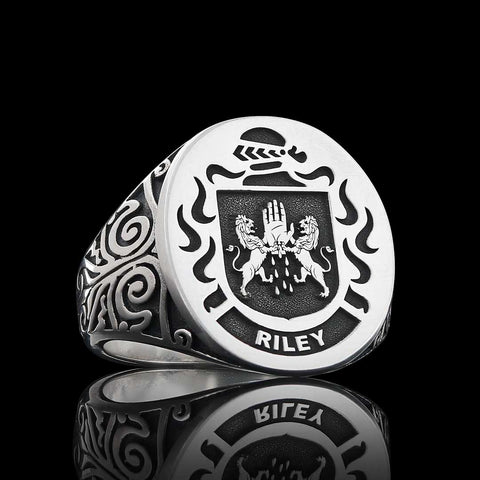 Riley silver family crest ring