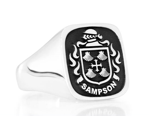 Silver family crest ring