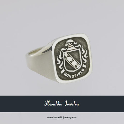 Wingfield silver raised crest ring