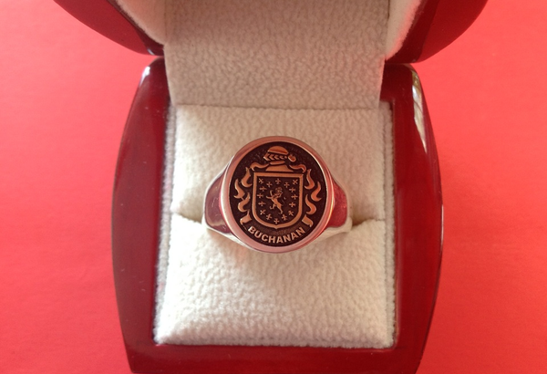 Mens 14KT Gold & Silver Crest Ring