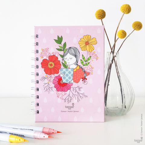 Spiral Mini Notebook - Garden Lady