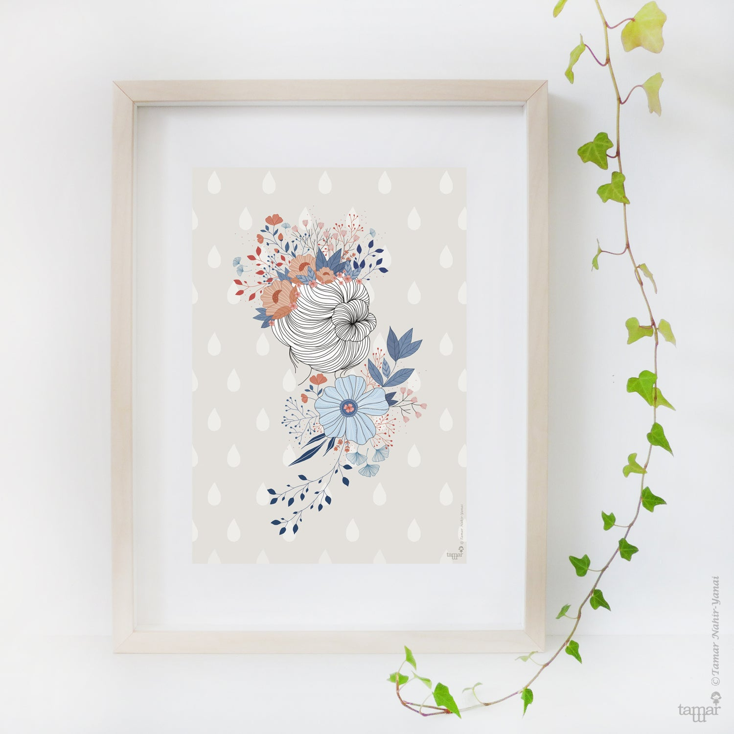 Flower Crown Lady Print Wall Art Tamar Nahir Yanai
