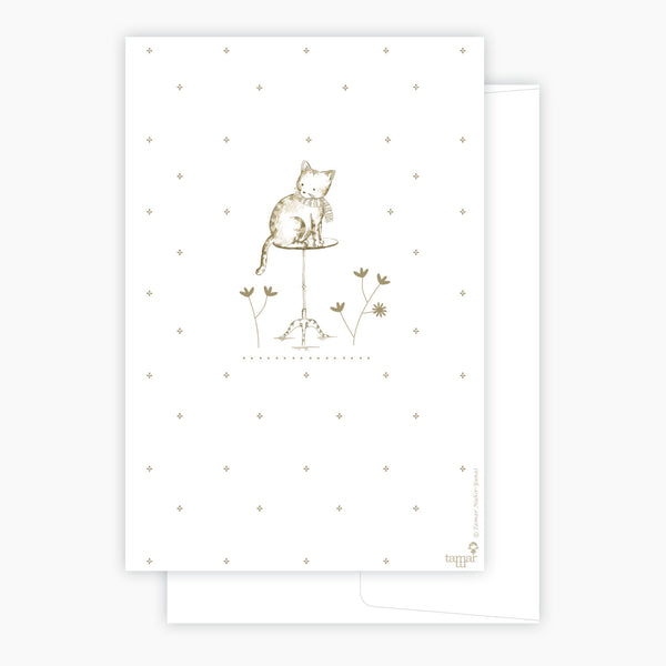 A cat on a table Card