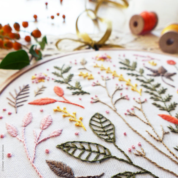 "Autumn Leaves - 6"" embroidery kit"