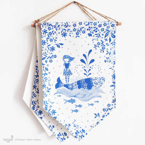 Banner Flag - Blue series Girl and whale