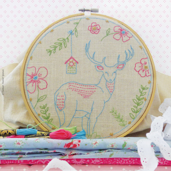 "Blue Deer - 8"" embroidery kit"