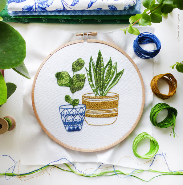 "Blue & Green Houseplants - 6"" embroidery kit"