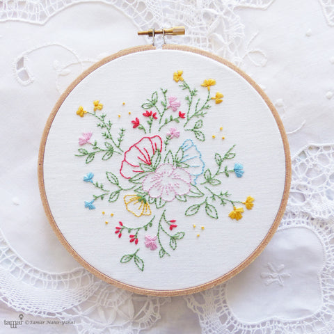"Bouquet of Flowers - 6"" embroidery kit"