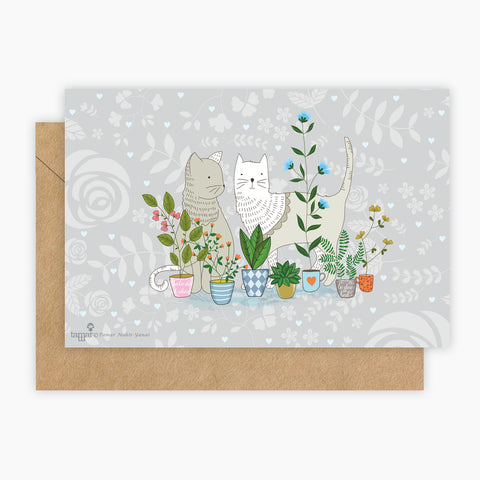 Cats in the garden Card