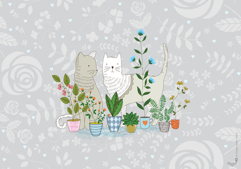 Cats in the garden print wall art