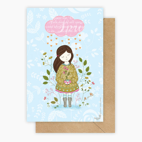 Cloud Raining Hearts Card