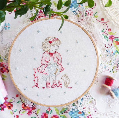 "Girl Watering Flowers - 8"" embroidery kit"