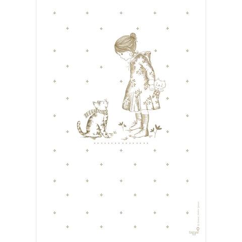 Girl and a Cat print wall art