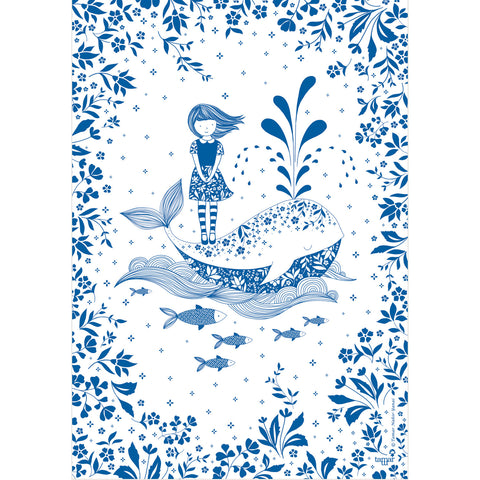 Girl and a Whale print wall art