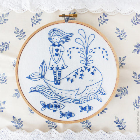 "Girl and a Whale - 6"" embroidery kit"