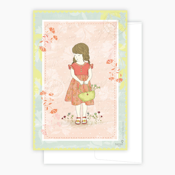 Girl and basket Card