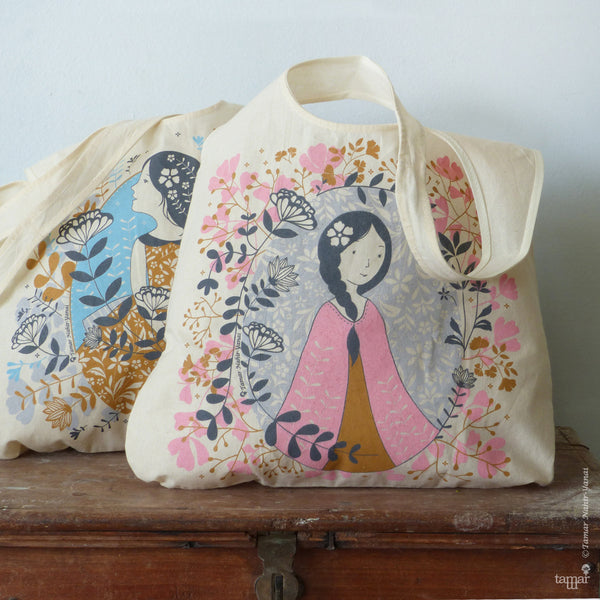 Girl in Pink Shawl Tote Bag