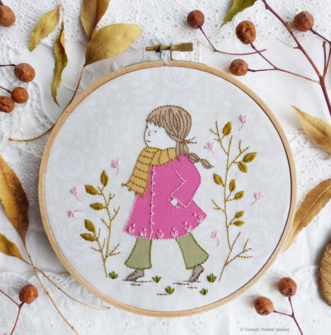 "Girl in a pink coat - 6"" embroidery kit"