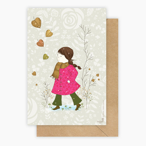 Girl in a pink coat Card