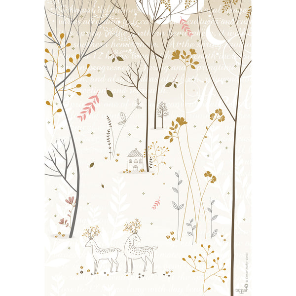 Gold & Gray Woods print wall art