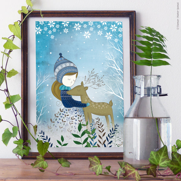 Golden Deer print wall art