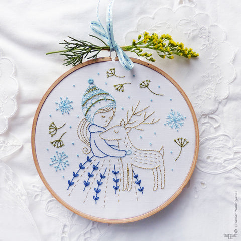 "Golden Deer - 6"" embroidery kit"