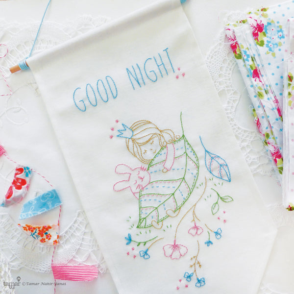 Good Night banner flag embroidery kit