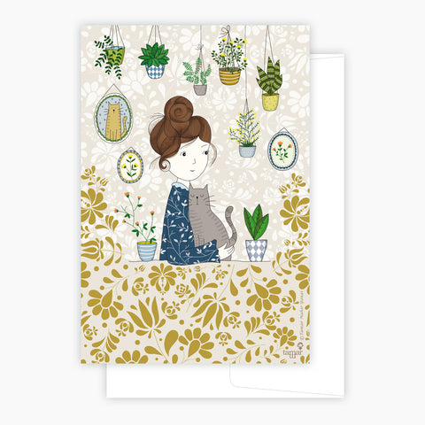 Hair Bun Girl Card
