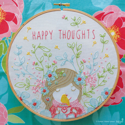 "Happy Thoughts - 8"" embroidery kit"