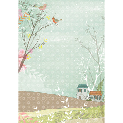 Houses and birds print wall art