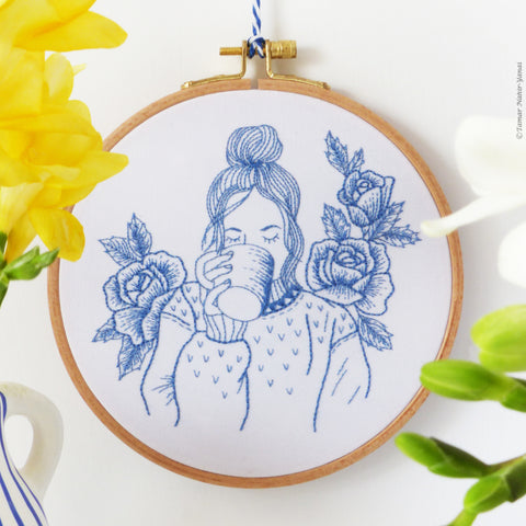 "Blue Floral Lady - 6"" embroidery kit"